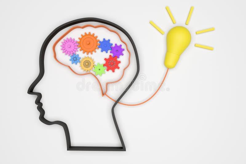 Hjärna 3D och kugghjul för att den bra idébegreppsmekanismen ska tända röret, mekanism till den bra idén royaltyfri illustrationer