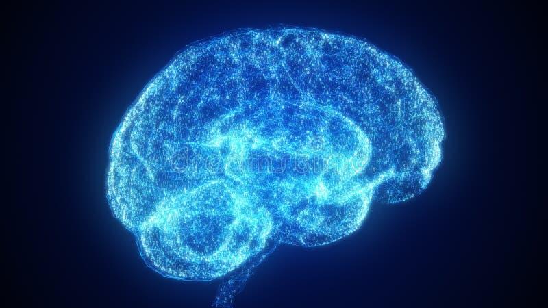 Hjärna för blått Digital för konstgjord intelligens i ett moln av binära data stock illustrationer