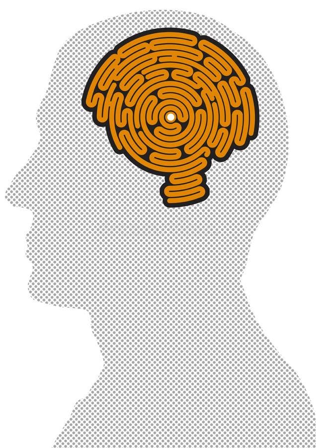 Hjärna-formad labyrint stock illustrationer