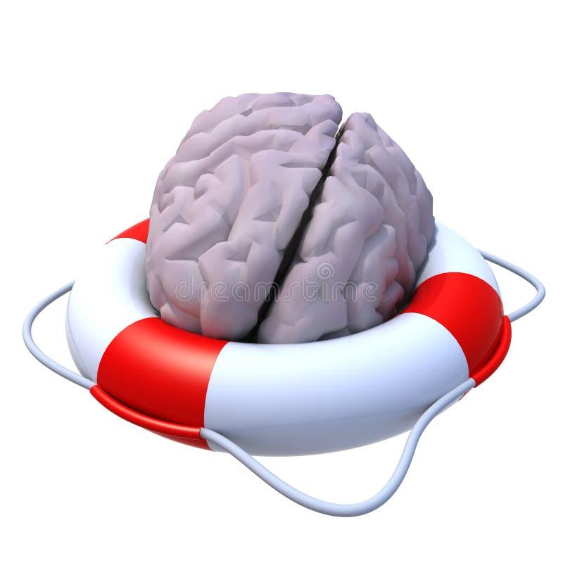 Hjärna i en lifesaver royaltyfri illustrationer