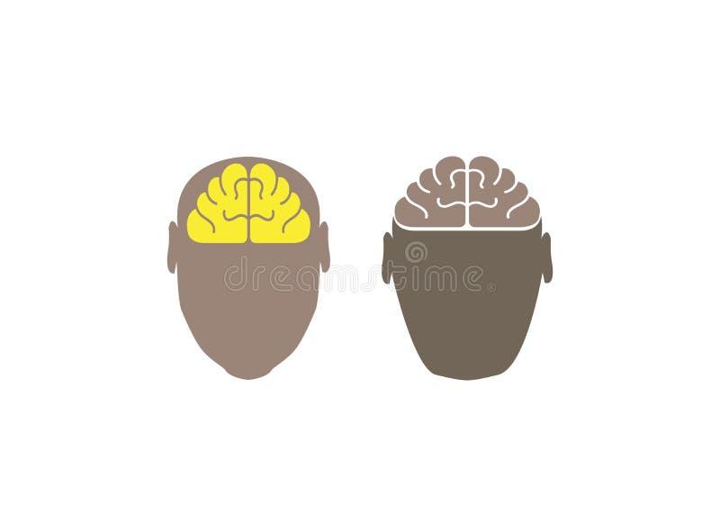 Hjärna i illustrationen för backgroung för huvudlogo den vita vektor illustrationer
