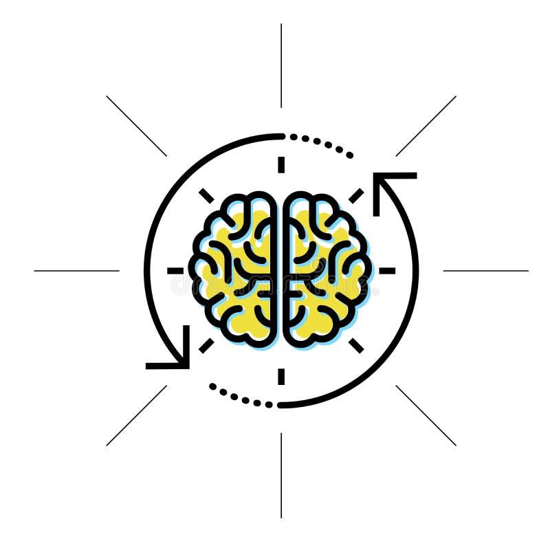 Hjärna i sikt - intellekt, forskning och kunskap stock illustrationer