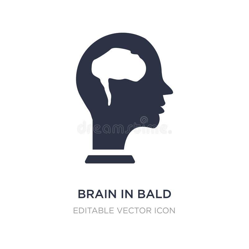 hjärna i skallig manlig huvudsymbol på vit bakgrund Enkel beståndsdelillustration från medicinskt begrepp stock illustrationer