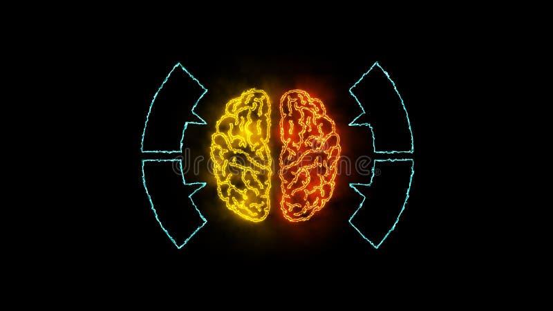 Hjärna 003 - Infographic 4K neon stock illustrationer