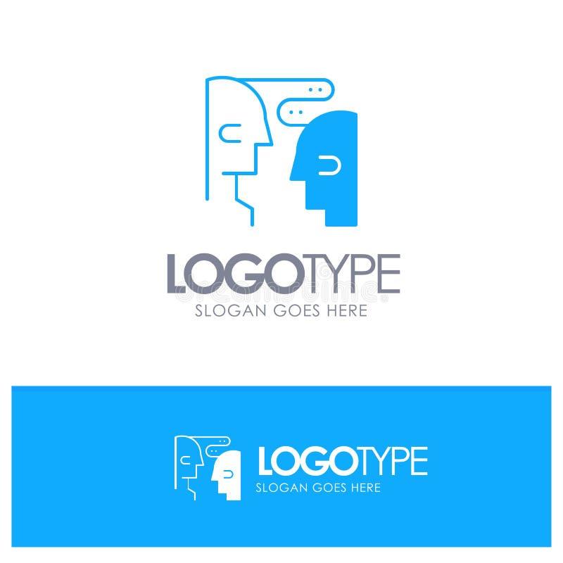 Hjärna kommunikation, människa, blå fast logo för växelverkan med stället för tagline royaltyfri illustrationer
