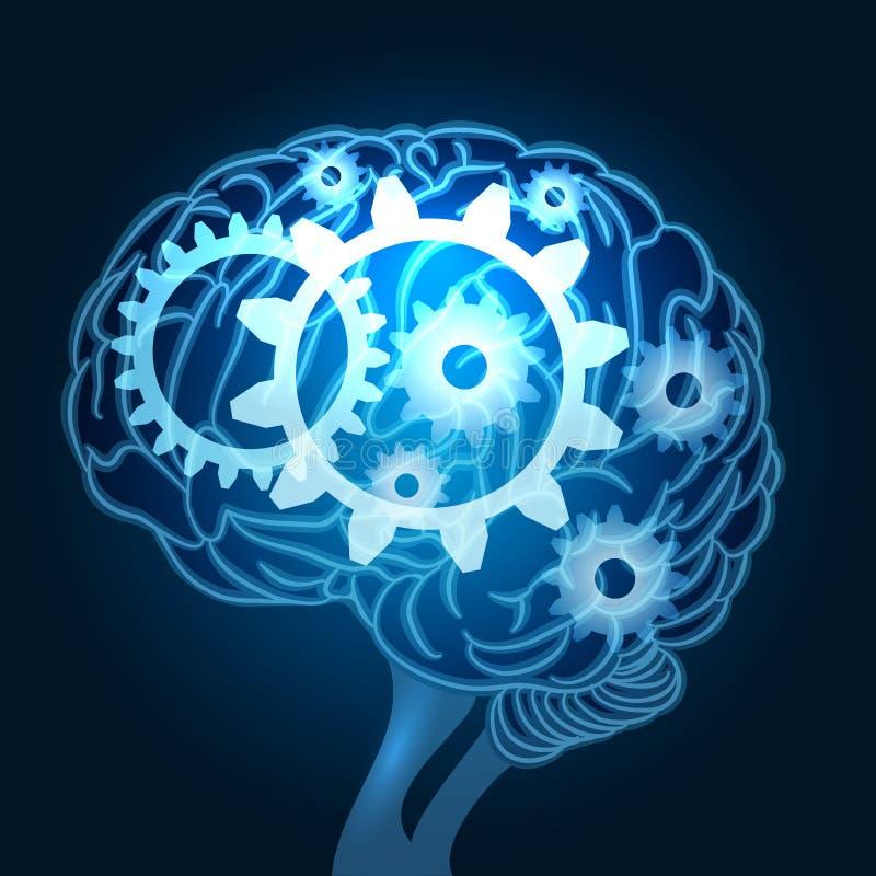 Hjärna med kugghjulillustrationen royaltyfri illustrationer