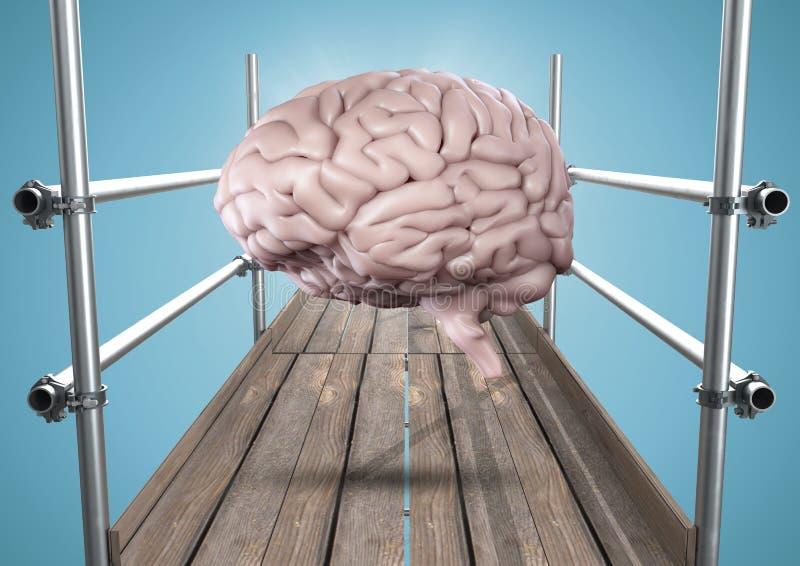 Hjärna med signalljuset på materialet till byggnadsställning mot blå bakgrund vektor illustrationer