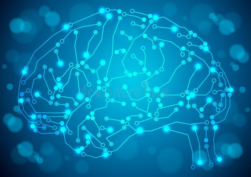 Hjärna med textur för strömkretsbräde vektor illustrationer