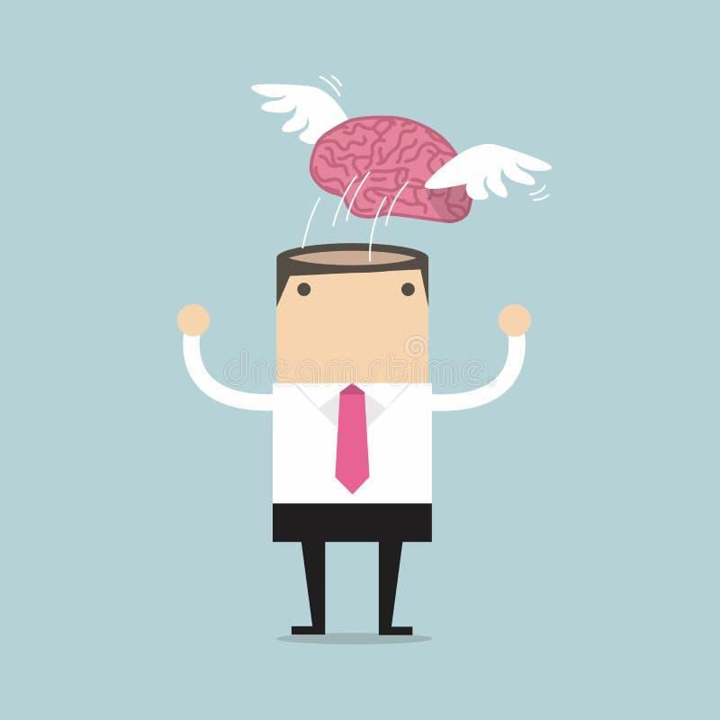 Hjärna med vingflygfrihet från affärsmanmeditation royaltyfri illustrationer