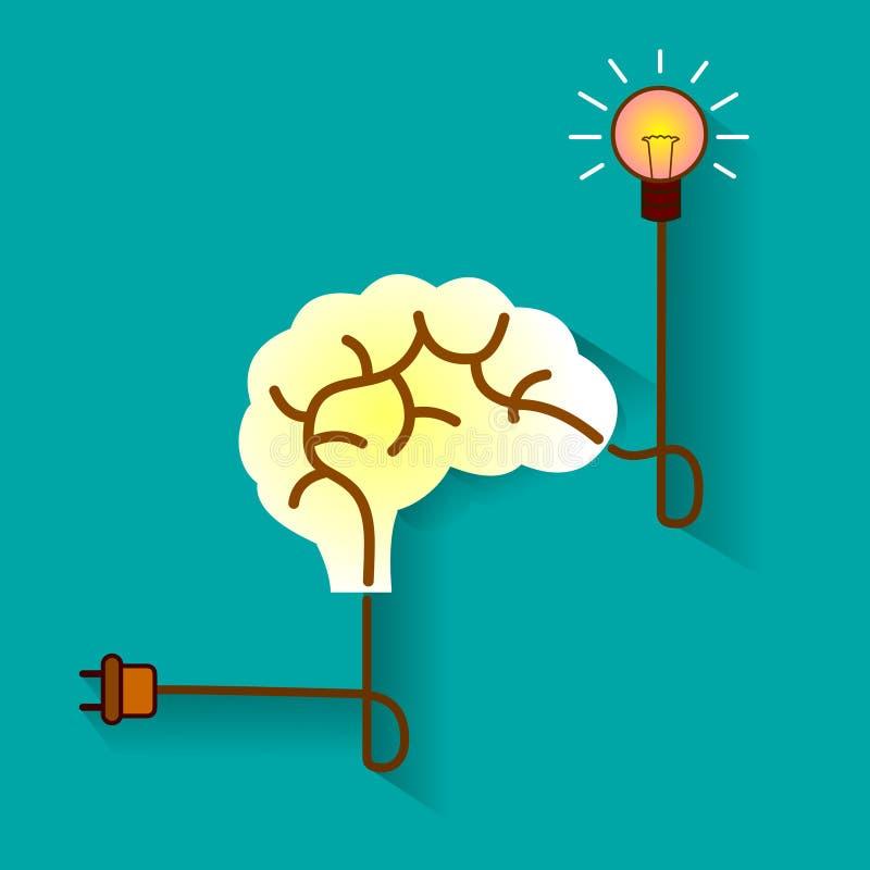 Hjärna och idébegrepp royaltyfri illustrationer