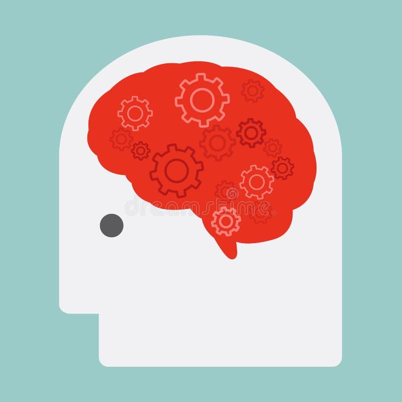 Hjärna och kugghjul royaltyfri illustrationer