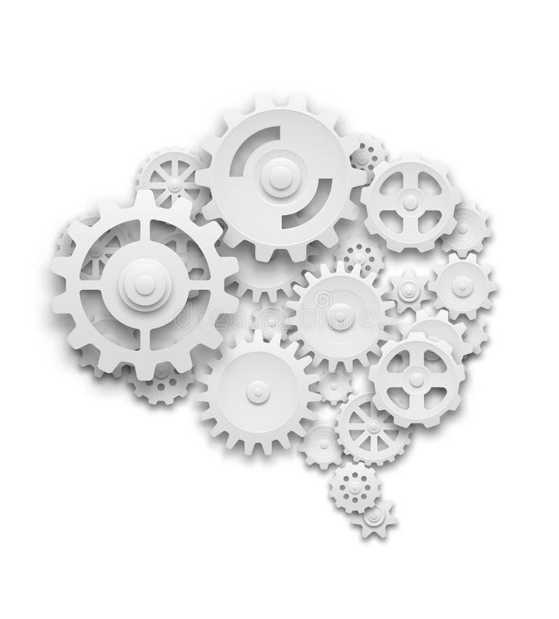 Hjärna som göras av kugghjul vektor illustrationer