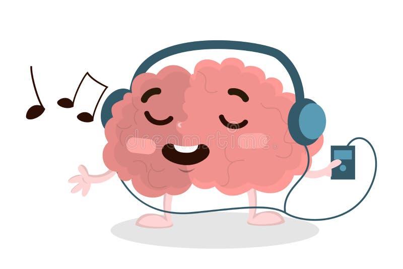 Hjärna som lyssnar till musik vektor illustrationer