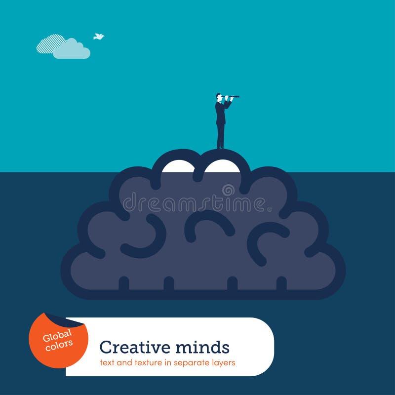 Hjärna under vatten och affärsman med kikaren som hjälper med nya idérika idéer royaltyfri illustrationer