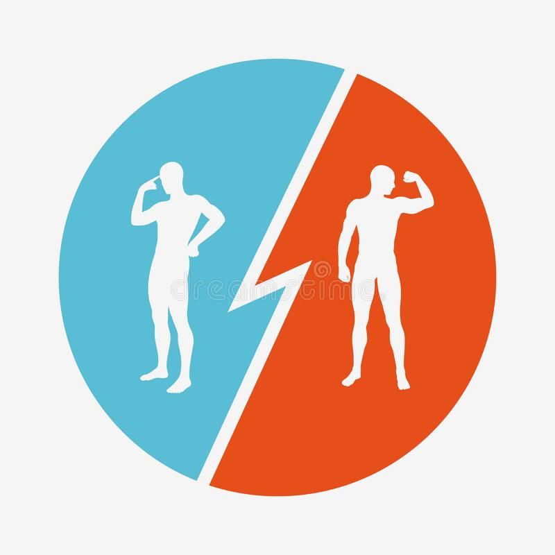 Hjärna vs styrka Intressekonflikt begreppet av rivalitet Konturer av två män stock illustrationer