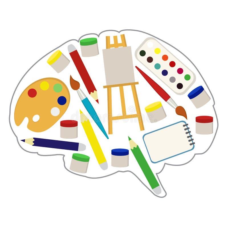 Hjärnan för konstnär` s, lägenhetstil också vektor för coreldrawillustration royaltyfri illustrationer