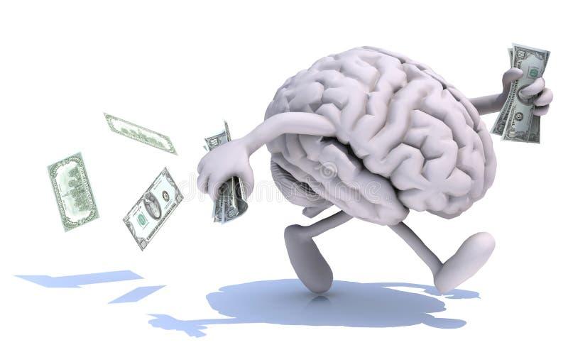 Hjärnan med armar och ben kör bort med pengar vektor illustrationer