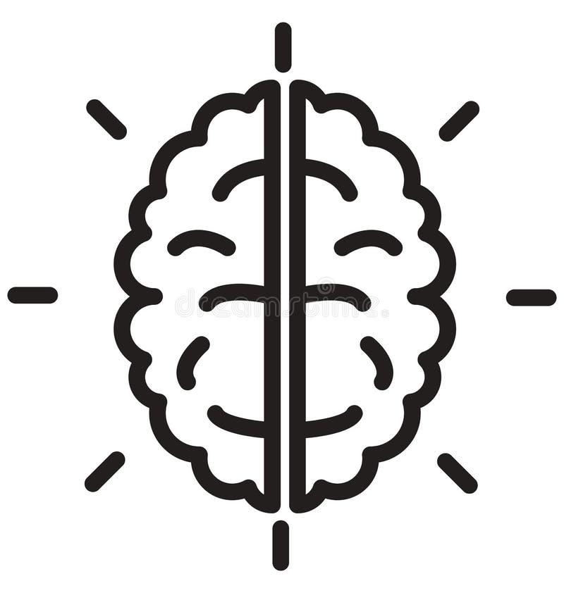 hjärnan skallelinjen isolerad vektorsymbol kan lätt ändras och redigera stock illustrationer