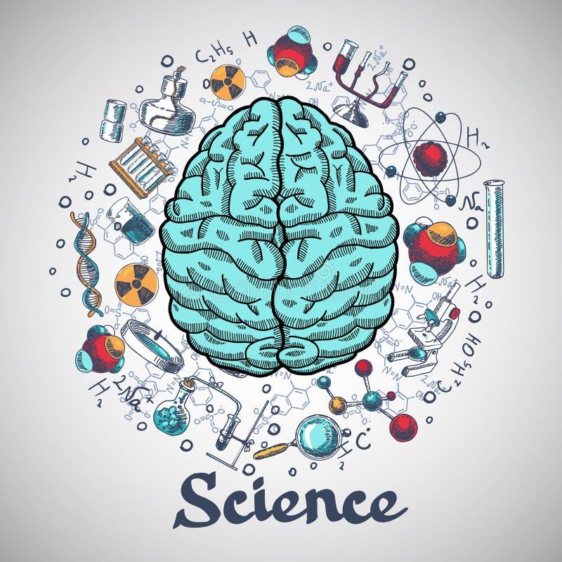 Hjärnan skissar vetenskapsbegrepp stock illustrationer