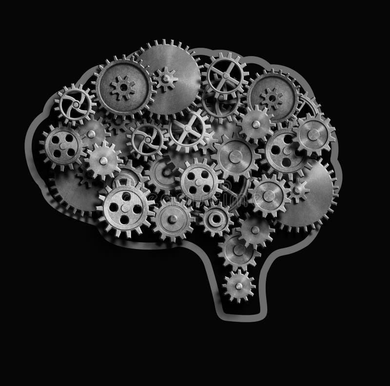 Hjärnan som göras från metall, utrustar och förser med kuggar illustrationen 3d royaltyfri illustrationer