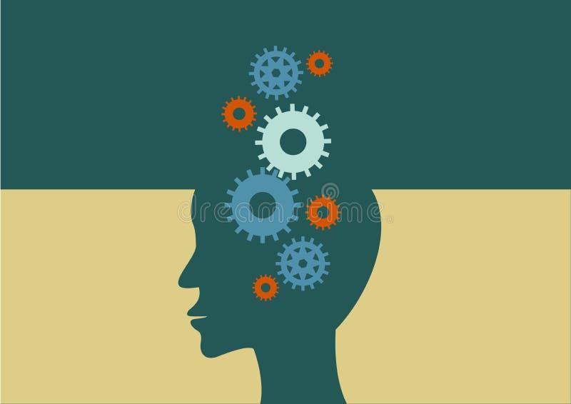 hjärnbegreppet gears head mänskligt tänka för progress vektor royaltyfri illustrationer