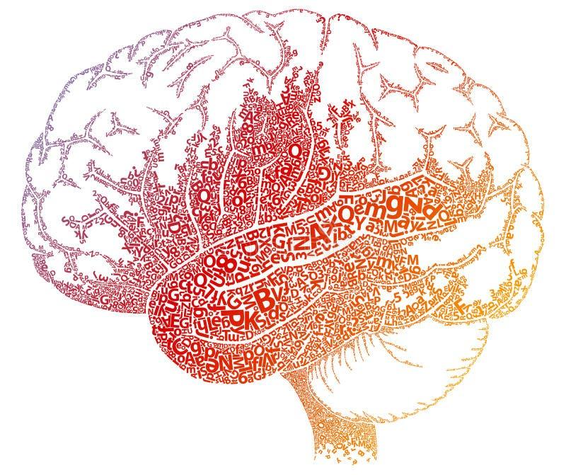 hjärnbokstäver stock illustrationer