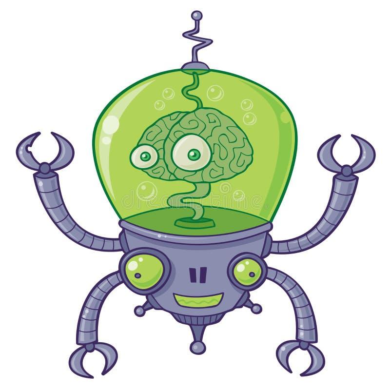 hjärnbrainbotrobot royaltyfri illustrationer