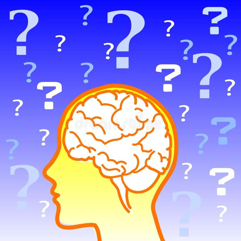 hjärndoubtsymbol royaltyfri illustrationer