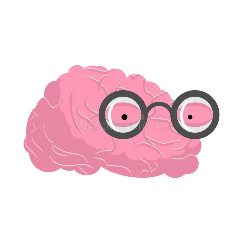 Hjärnexponeringsglas Snille av mänskliga hjärnor Intellektuell snobbmening royaltyfri illustrationer