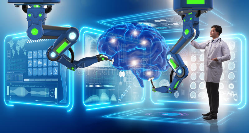 Hjärnkirurgin som göras av den robotic armen fotografering för bildbyråer