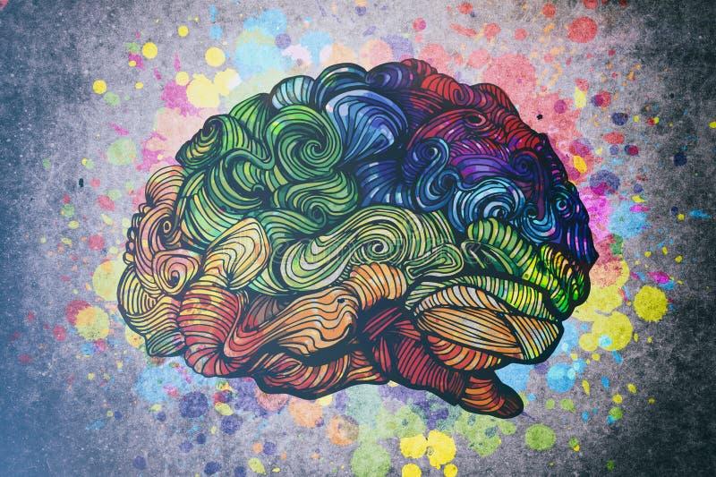 Hjärnklotterillustration med texturer stock illustrationer