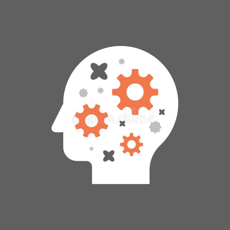 Hjärnkugghjul, huvud med kugghjul, kognitiv expertis, teknologifolk, idérikt seminarium, potentiell utveckling, kläckning av idee royaltyfri illustrationer