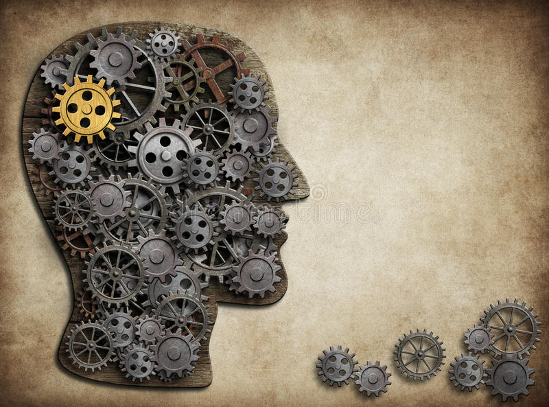 Hjärnkugghjul och kuggar, idébegrepp stock illustrationer