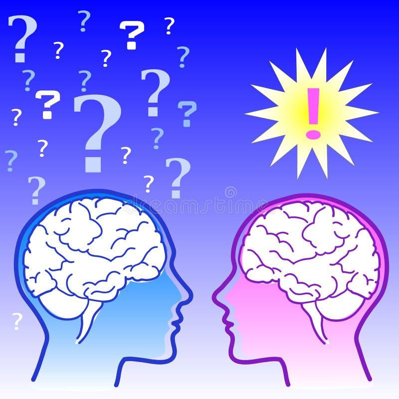 hjärnkvinnligmanlig vs stock illustrationer