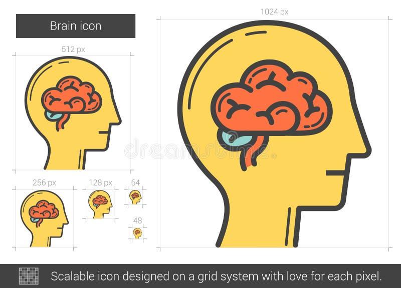 Hjärnlinje symbol stock illustrationer