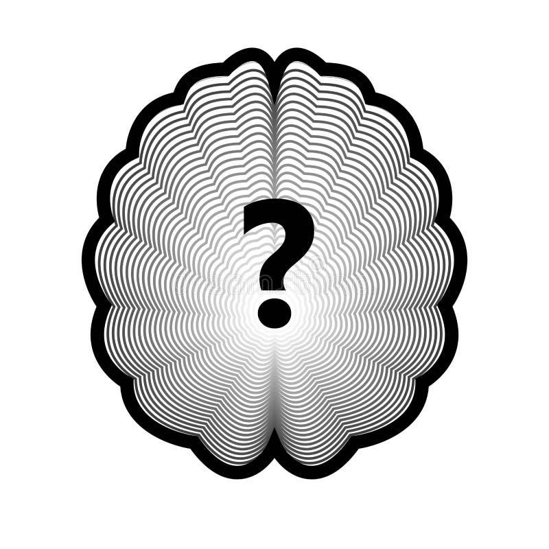 Hjärnlogo och isolerat mänskligt organ för frågefläck royaltyfri illustrationer