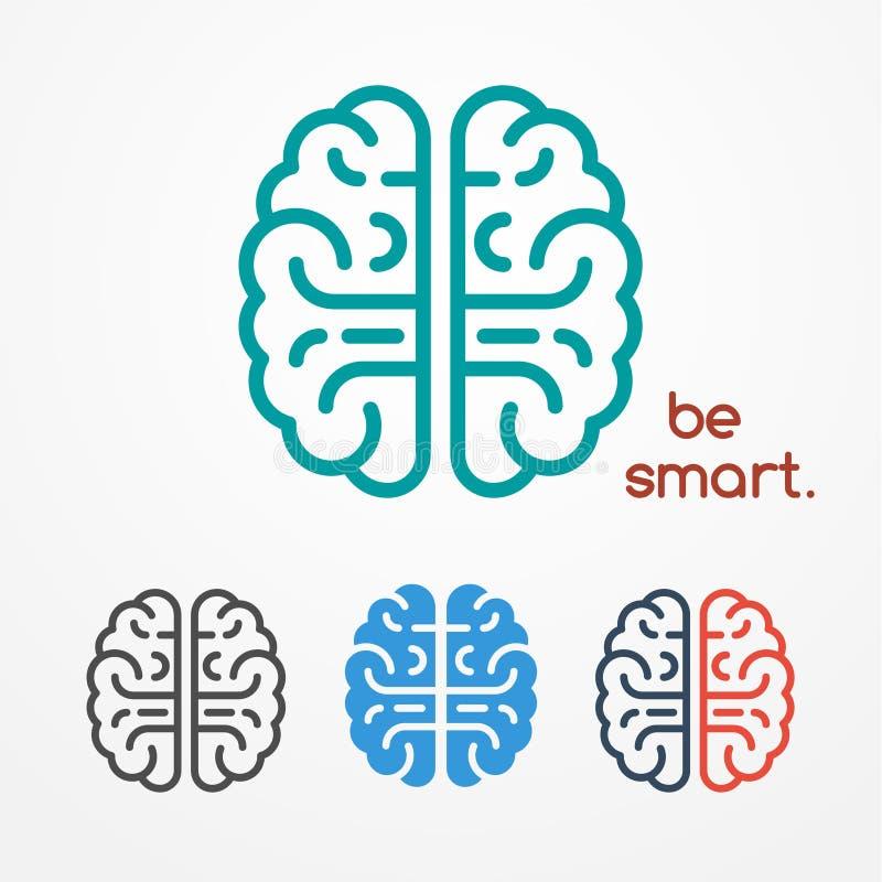 Hjärnlogouppsättning stock illustrationer