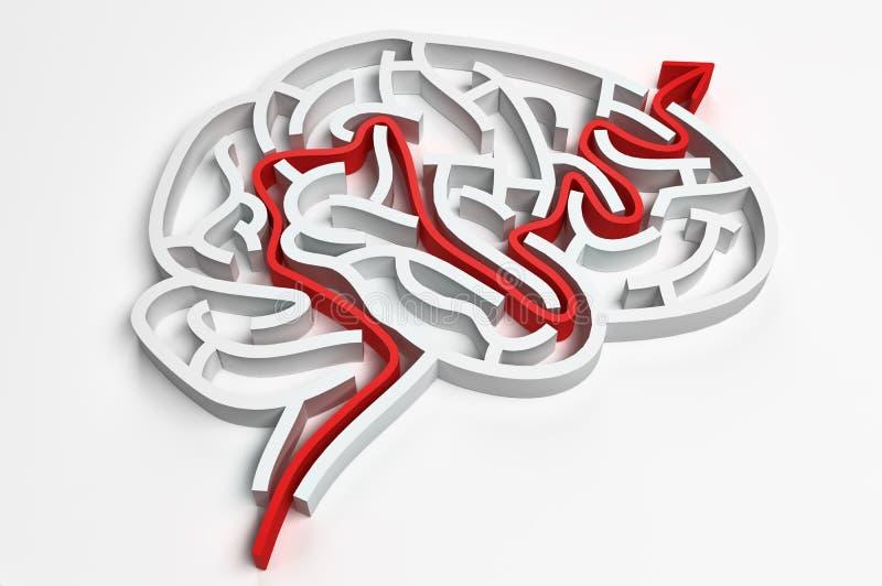 Hjärnmaze stock illustrationer