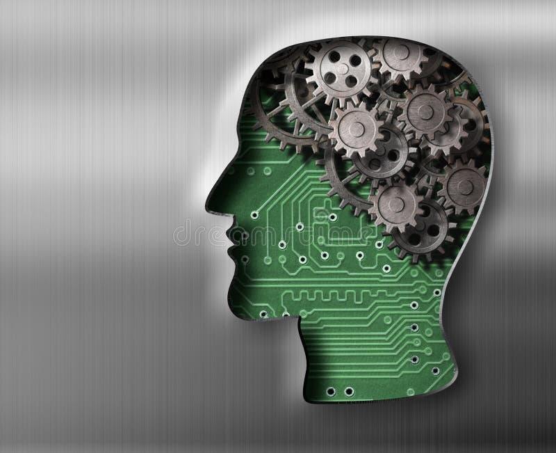 Hjärnmodell i metallplatta vektor illustrationer