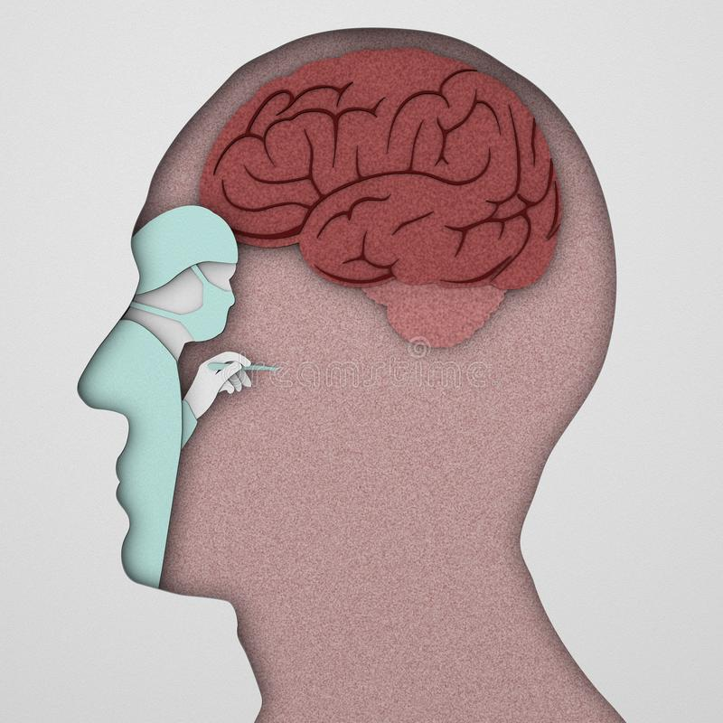 Hjärnneuronssynapse, anatomi, head profil, vektor illustrationer