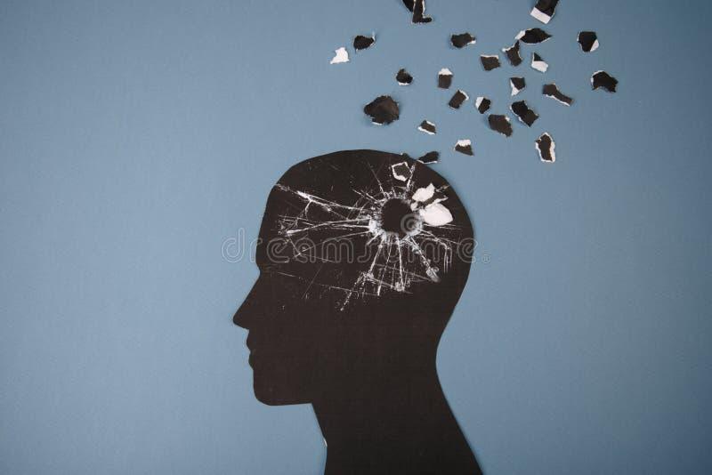 Hjärnoordningsymbolet som framlades av det mänskliga huvudet, gjorde formpapper Idérik idé för Alzheimers sjukdom, demens, minne royaltyfri illustrationer