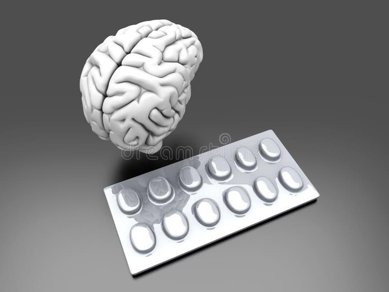 hjärnpills stock illustrationer