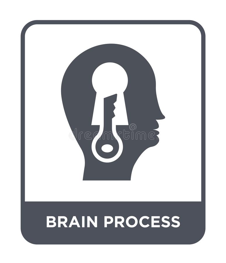 hjärnprocesssymbol i moderiktig designstil hjärnprocesssymbol som isoleras på vit bakgrund enkel symbol för hjärnprocessvektor oc stock illustrationer