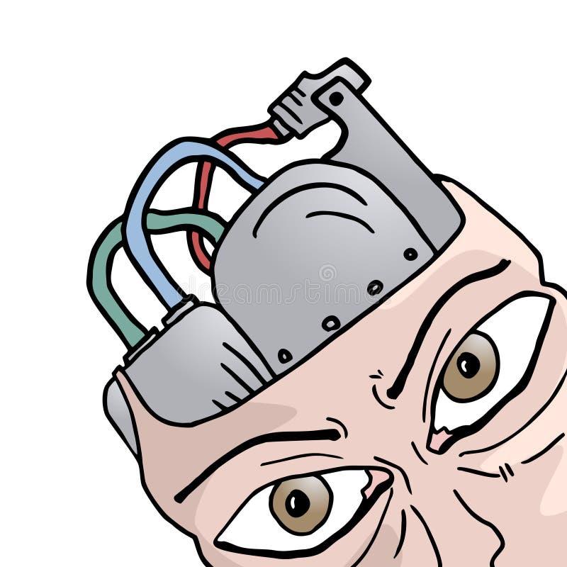 Hjärnrobot stock illustrationer