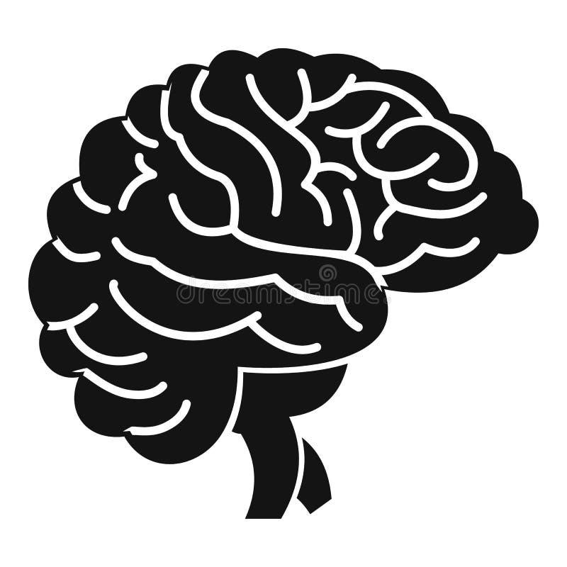 Hjärnsymbol, enkel stil stock illustrationer