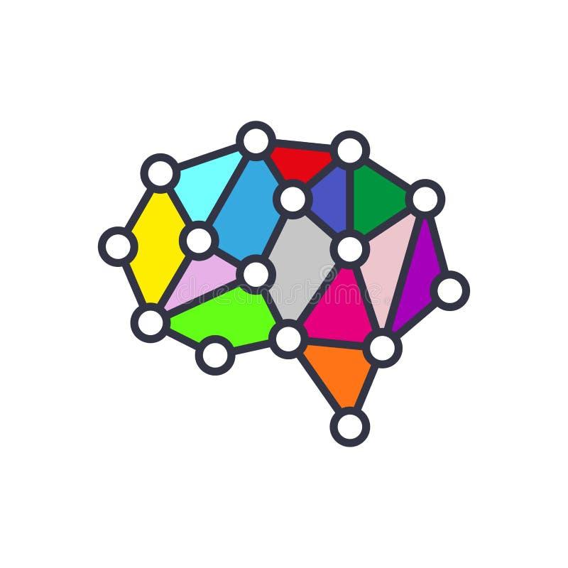Hjärnsymbol för konstgjord intelligens - symbol för begrepp för vektorAI-teknologi, designbeståndsdel stock illustrationer