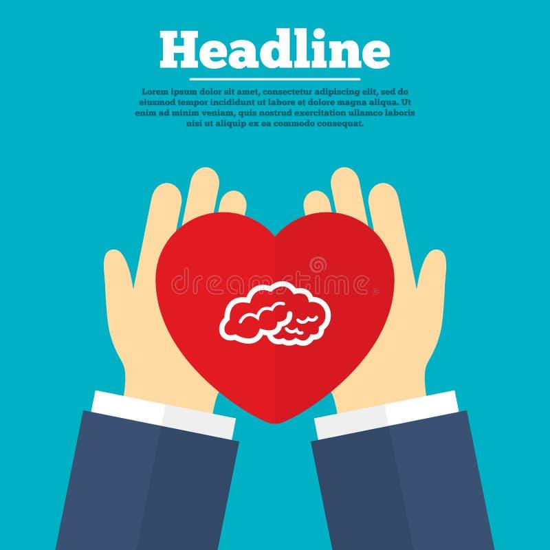 Hjärnteckensymbol Intelligent ila meningen royaltyfri illustrationer