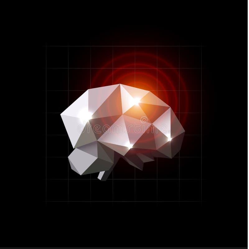 Hjärnvektorillustration Smärta källan, huvudvärken, polygonal design Hjärnsjukdom, lowpoly symbol Röda cirklar på chrystal stock illustrationer