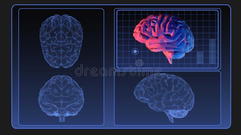Hjärnwireframediagram på bildskärmskärmen stock illustrationer