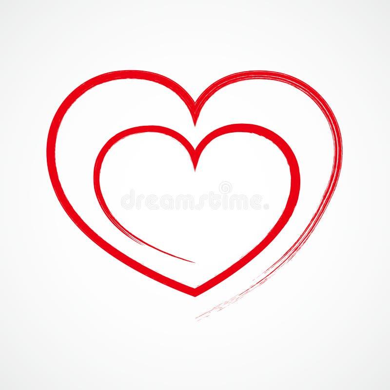 Hjärtaöversiktssymbol också vektor för coreldrawillustration stock illustrationer